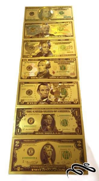 سری کامل اسکناس روکش طلا یک تا صد دلاری امریکا |